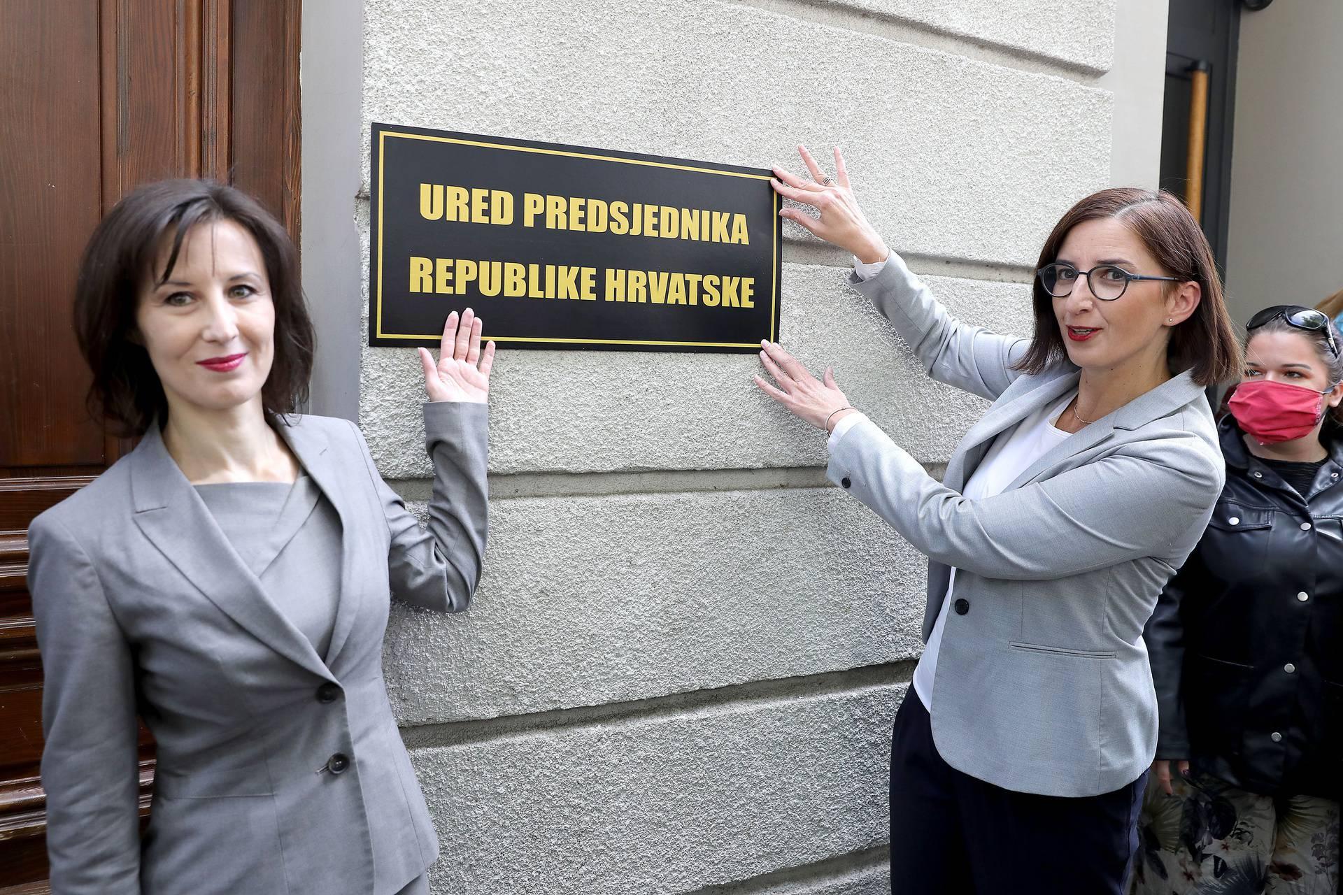 """Orešković i Puljak na zgradu Kovačevićevog kluba stavile tablu """"Ured predsjednika RH"""""""