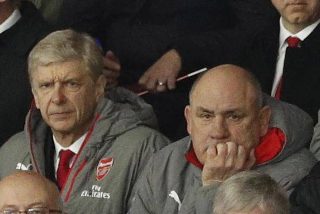 Arsenal manager Arsene Wenger, coach Boro Primorac and Pat Rice in the stands