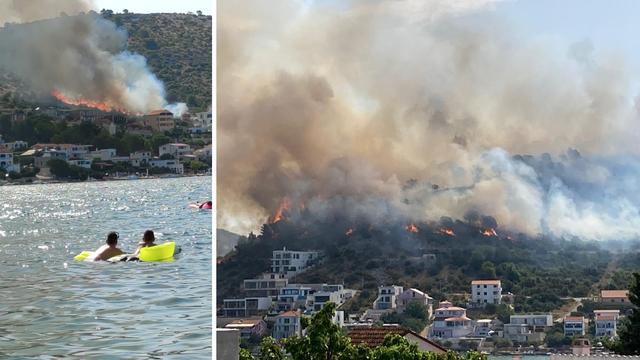 Požar buknuo kraj Rogoznice: 'Vatra se približila kućama, brzo se proširila jer vjetar jako puše'
