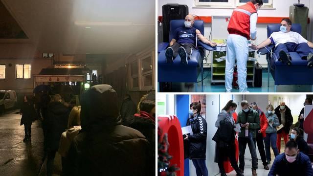 Satima čekaju u redu: Stotine daruju krv za stradale u potresu