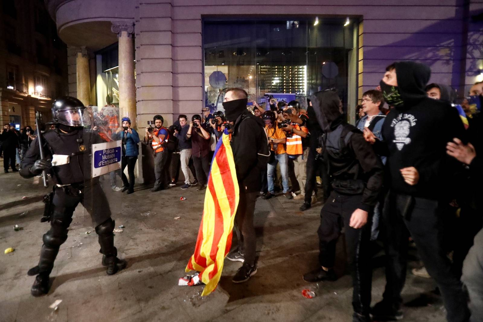 Protest against police action in Barcelona