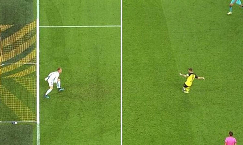 Borussia oštećena? Ter Stegen je izašao metar ispred linije...