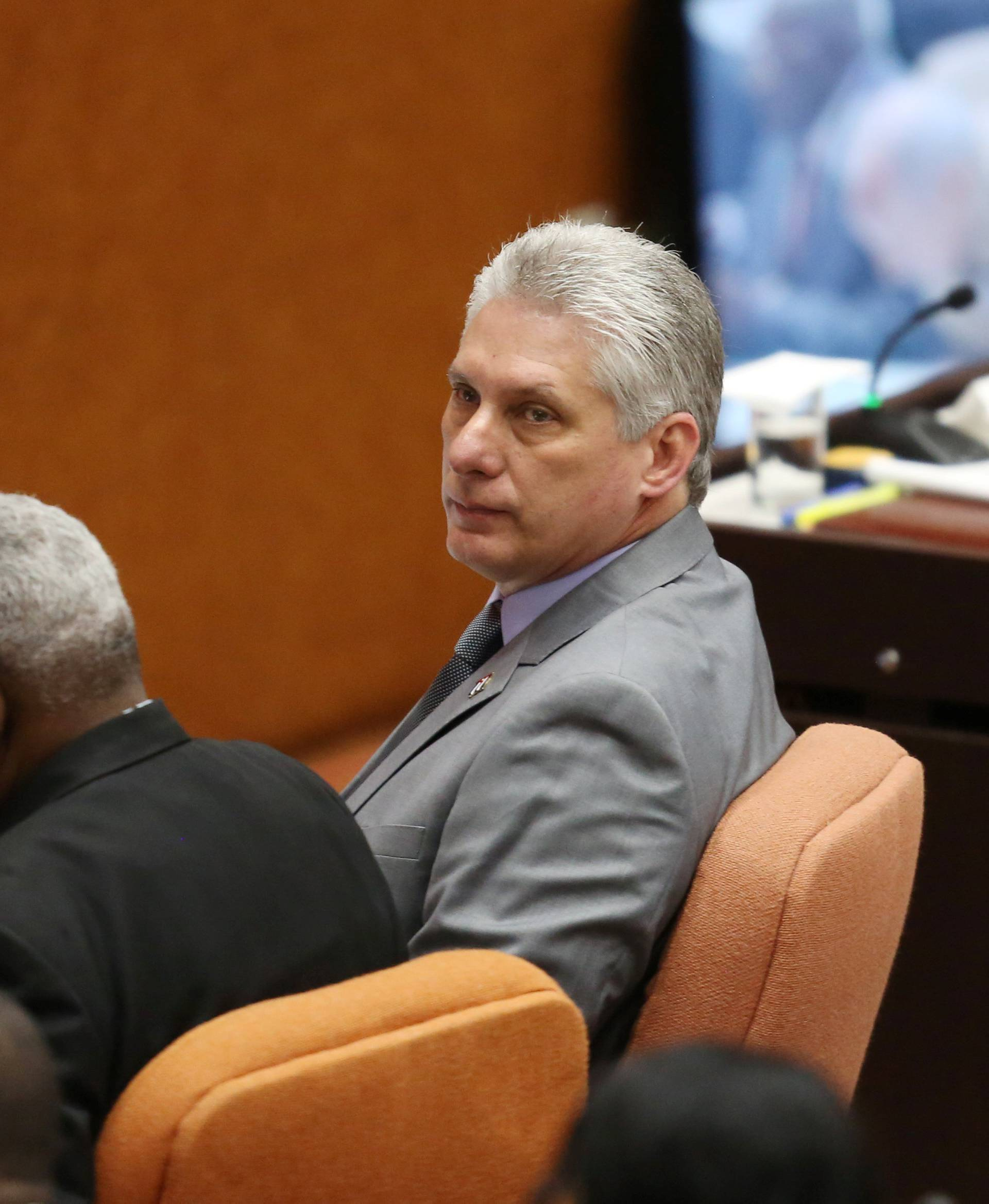 Cuba's First Vice-President Miguel Diaz-Canel takes part in a session of the National Assembly in Havana