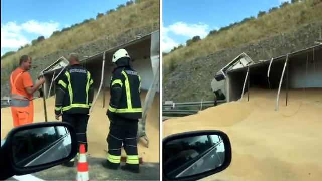 Kod Bosiljeva se prevrnuo kamion: Pšenica rasuta po cesti, vozi se sporo prema Zagrebu