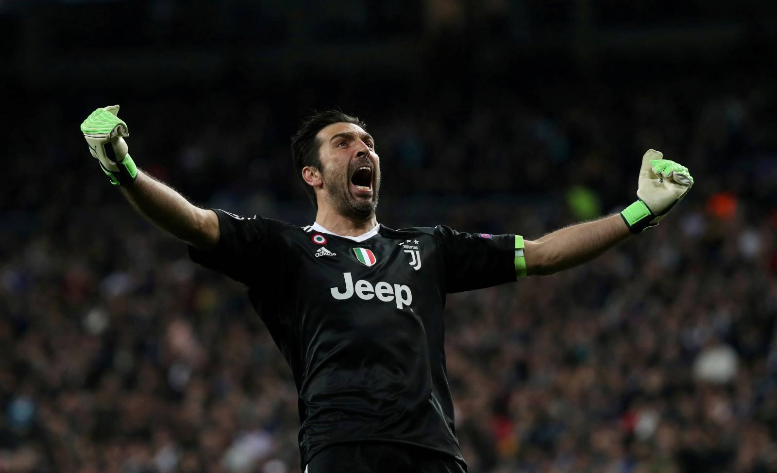 FILE PHOTO: Juventus goalkeeper Gianluigi Buffon celebrates their third goal scored by Blaise Matuidi in a 3-1 win against Real Madrid at the Santiago Bernabeu stadium, Madrid