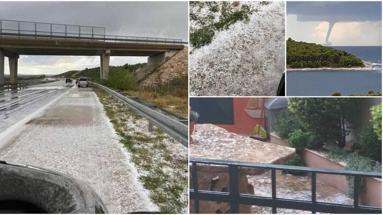 Tuča zabijelila dijelove Splita i Šibenika, pijavice u Primoštenu