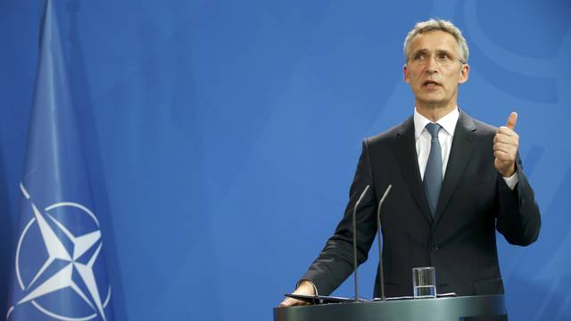 NATO Secretary-General Stoltenberg attends news conference in Berlin