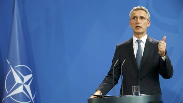 NATO Secretary-General Stoltenberg attends news conference in Berlin