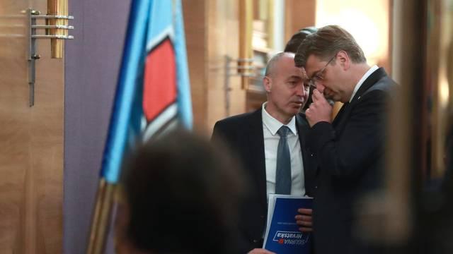 Zagreb: Andrej Plenković i Damir Krstićević u razgovoru nakon sjednice Središnjeg odbora