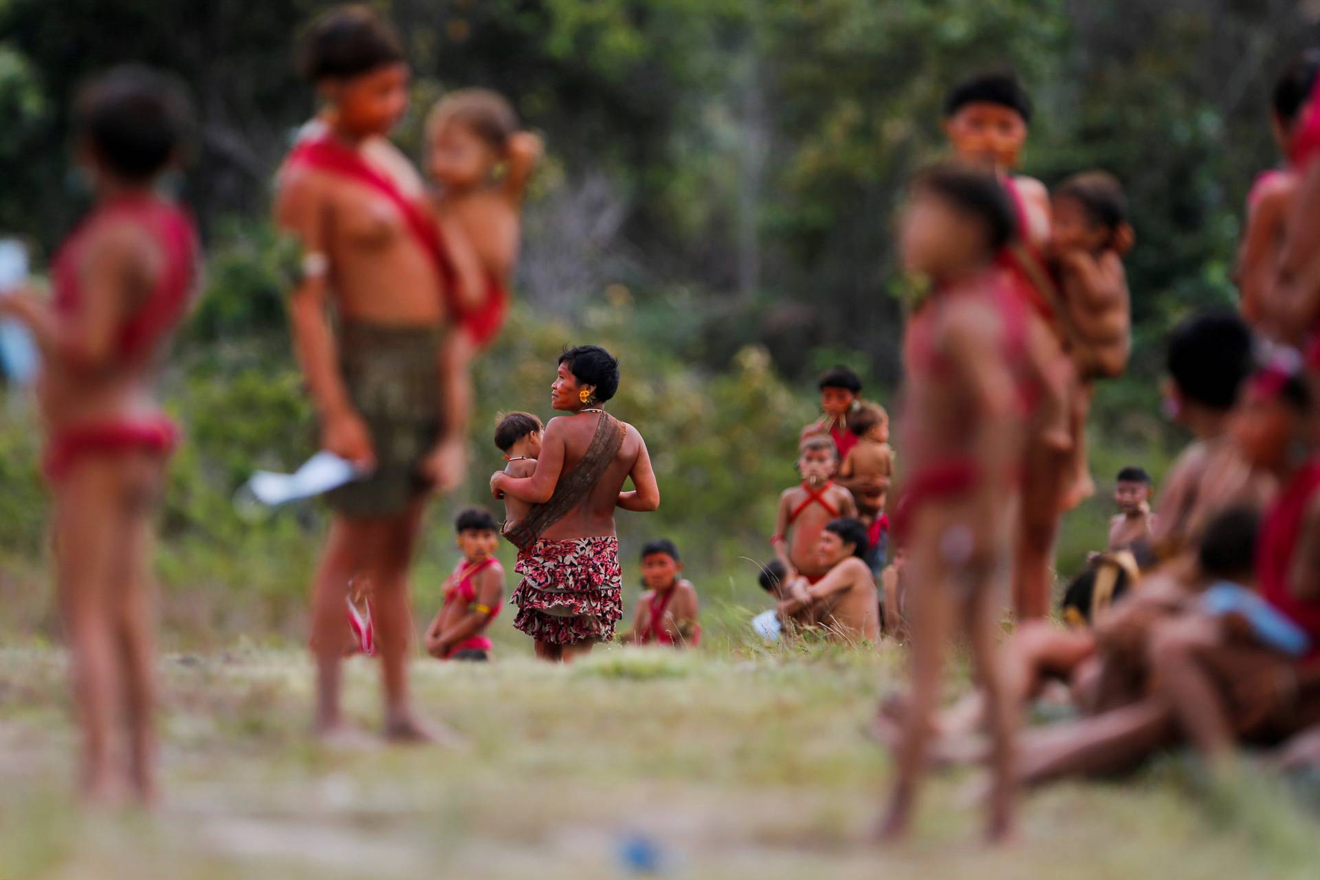 Indigenous from Yanomami ethnic group are seen at the 4th Surucucu Special Frontier Platoon of the Brazilian army in the municipality of Alto Alegre