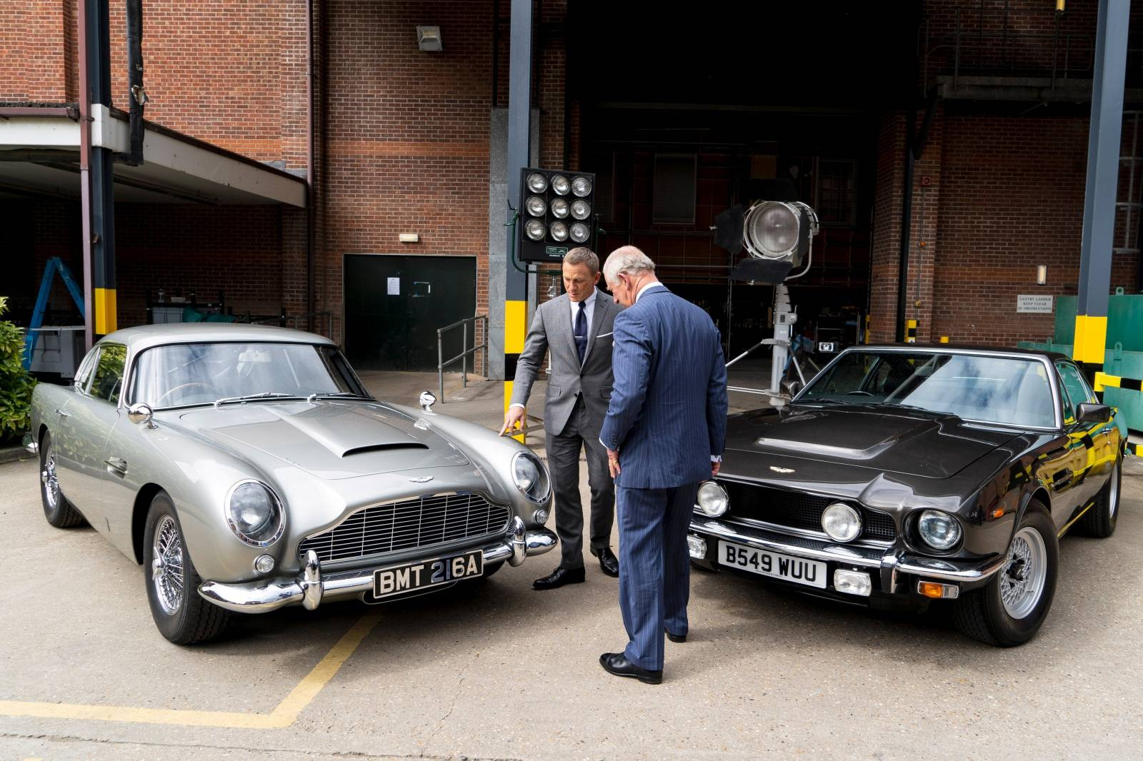 Prince Charles visits the set of James Bond at Pinewood Studios