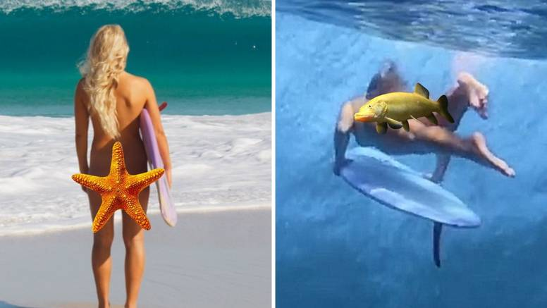 I ribe su ostale 'paf': Australka je gola surfala po valovima...