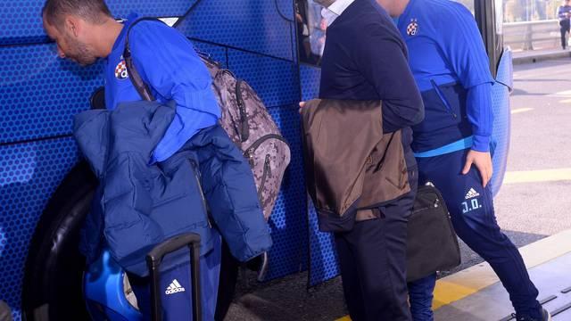 Zagreb: Odlazak momčadi GNK Dinamo u Harkiv na utakmicu protiv ukrajinskog Šahtara