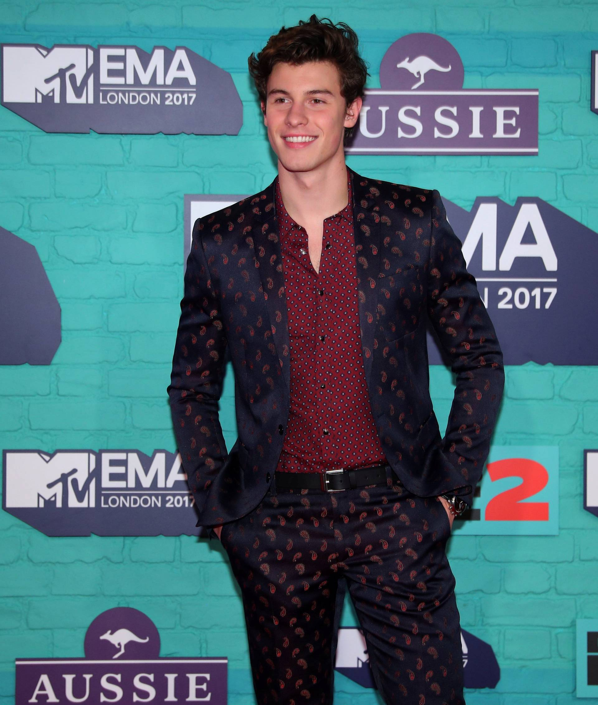 Canadian singer Shawn Mendes arrives at the 2017 MTV Europe Music Awards at Wembley Arena in London.