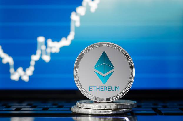 Ethereum,(eth),Cryptocurrency;,Silver,Ethereum,Coin,On,The,Background,Of