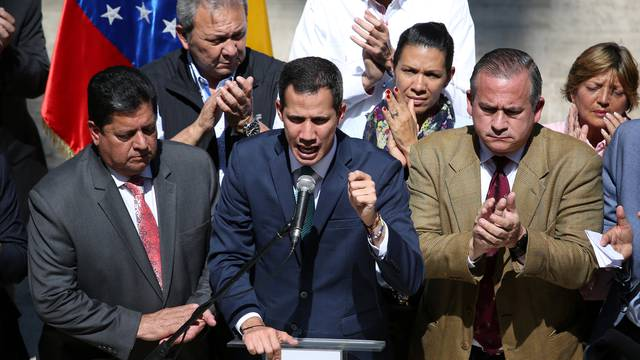 Venezuelan opposition leader Juan Guaido speaks during a news conference at the National Assembly in Caracas