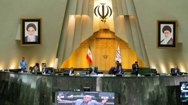 Speaker Ali Larijani attends a session of parliament in Tehran