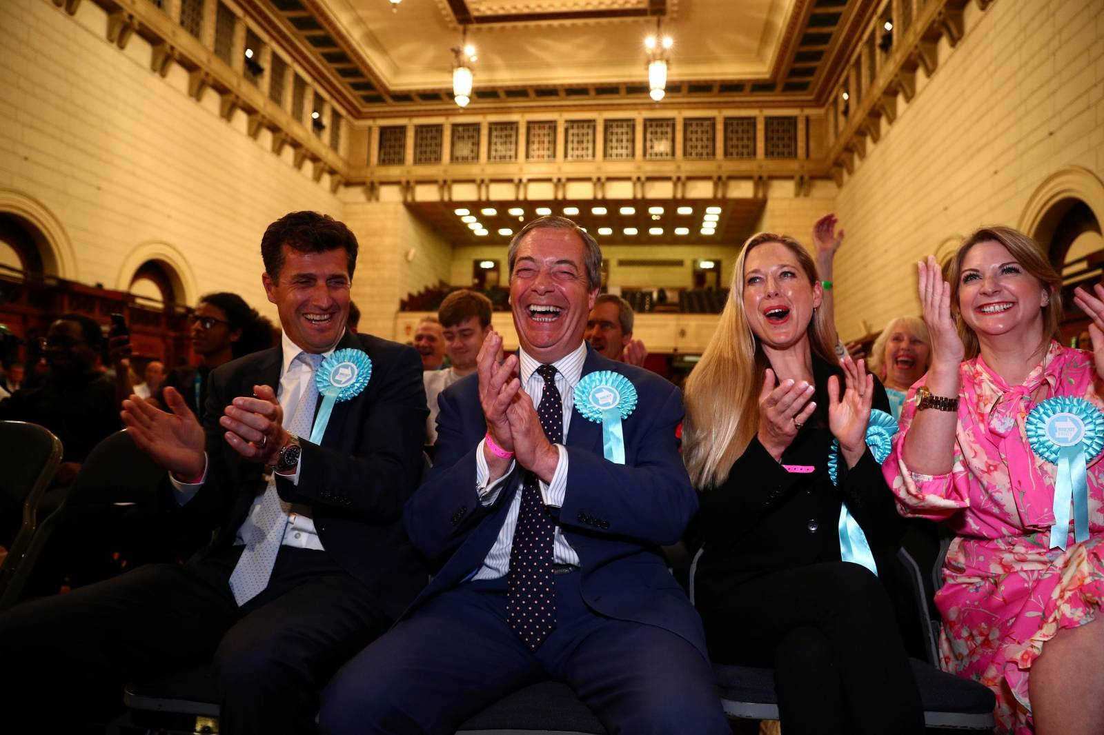Brexit Party leader Nigel Farage reacts to the results for the European Parliamentary election in Southampton