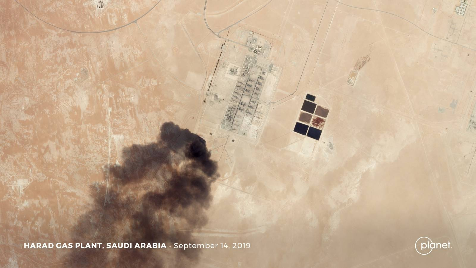 A satellite image shows an apparent drone strike on an Aramco oil facility in Harad