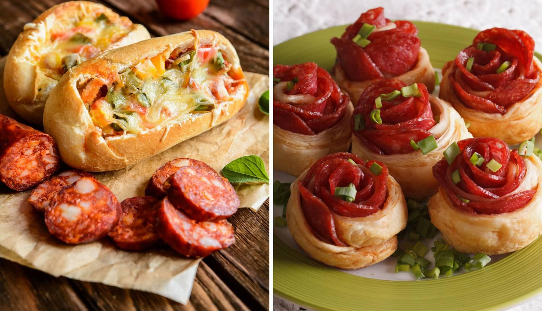 Kruščići s kobasicama i jajima, i fine ružice s kulenom i sirom