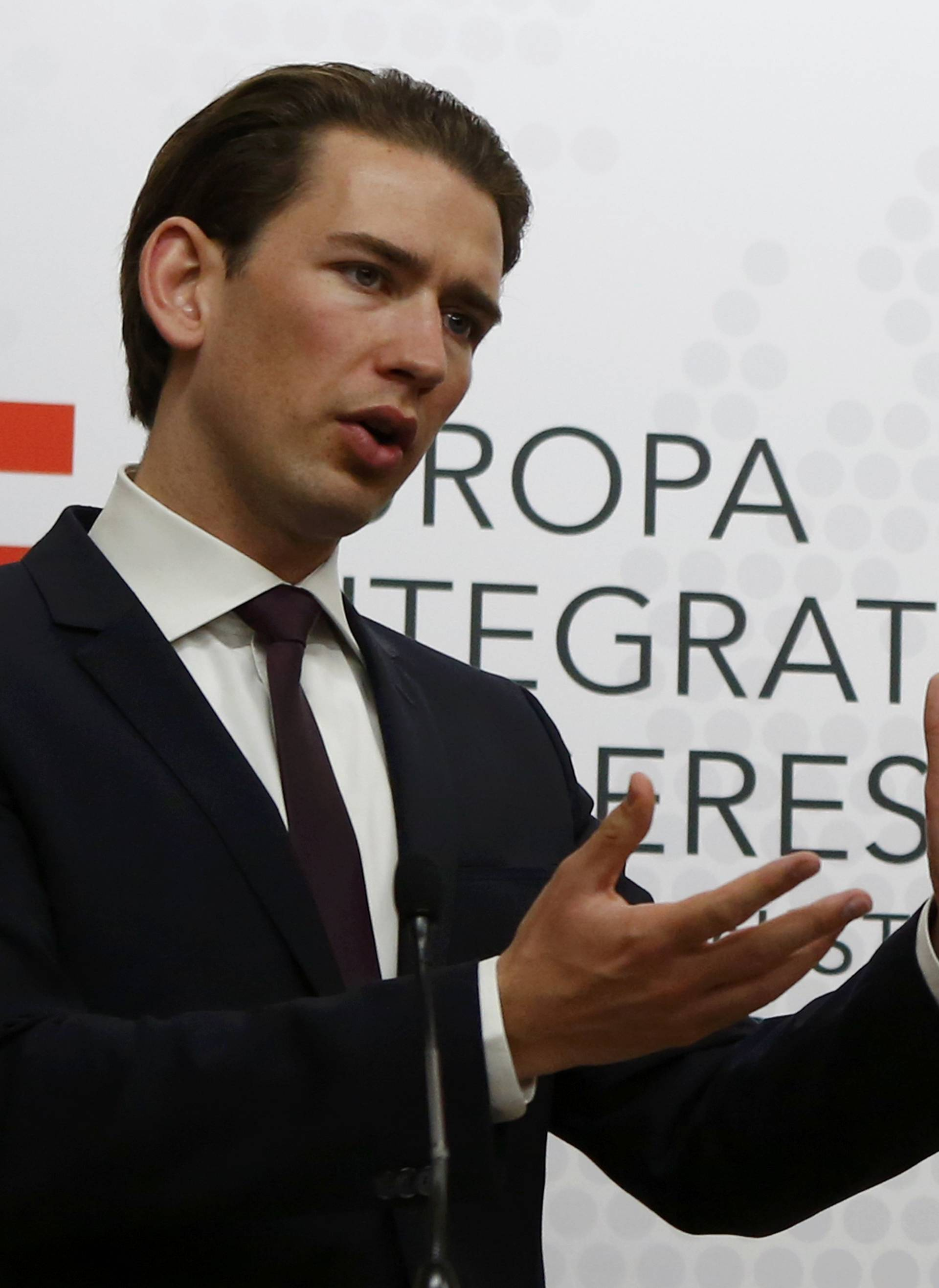 Austrian Foreign Minister Kurz addresses a news conference in Vienna