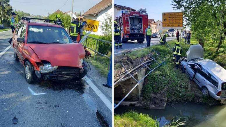 Teška nesreća u Hrastju: Probio ogradu autom i završio u kanalu