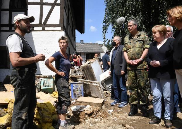 Chancellor Merkel visits flood-stricken town of Schuld and Adenau