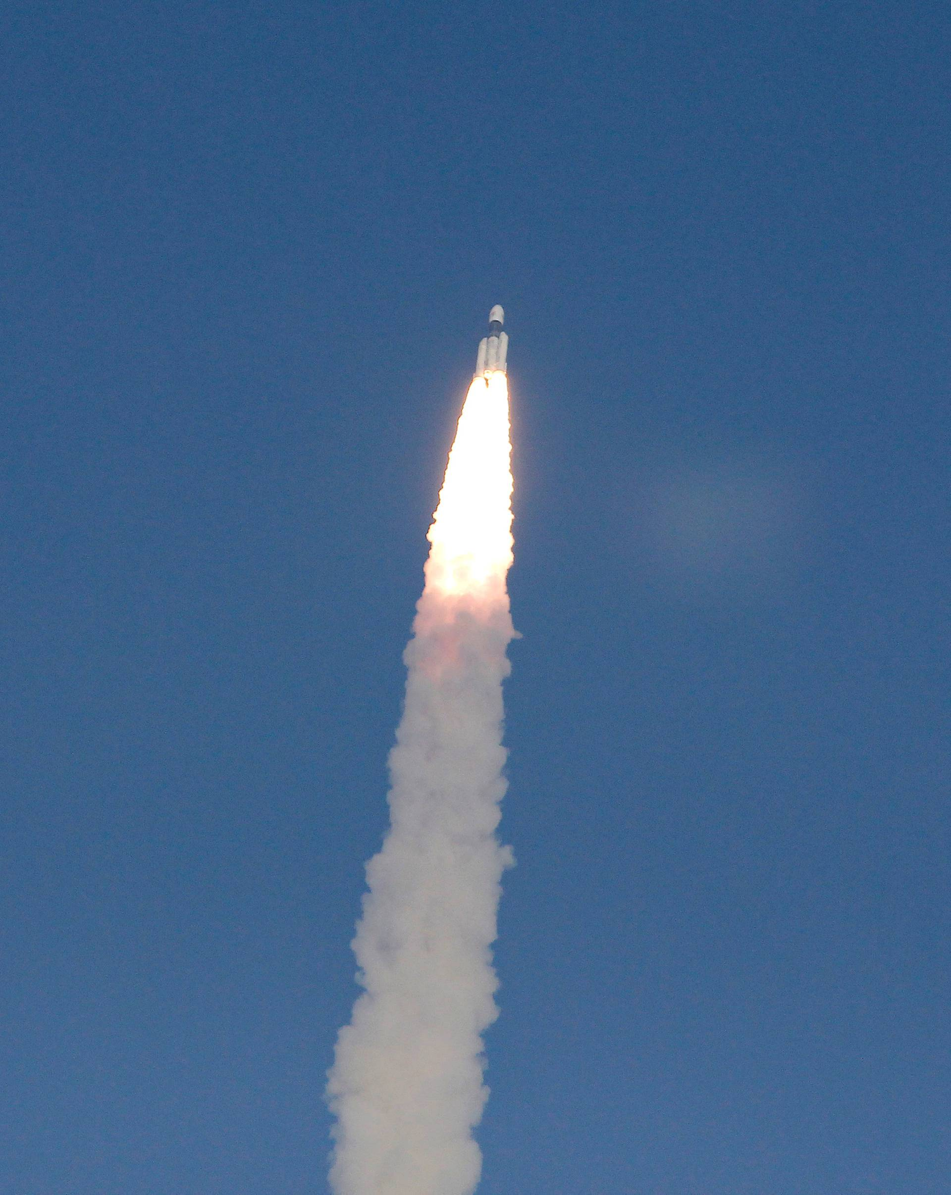 FILE PHOTO: India's Geosynchronous Satellite Launch Vehicle Mk III carrying GSAT-29 communication satellite lifts off from the Satish Dhawan Space Centre in Sriharikota