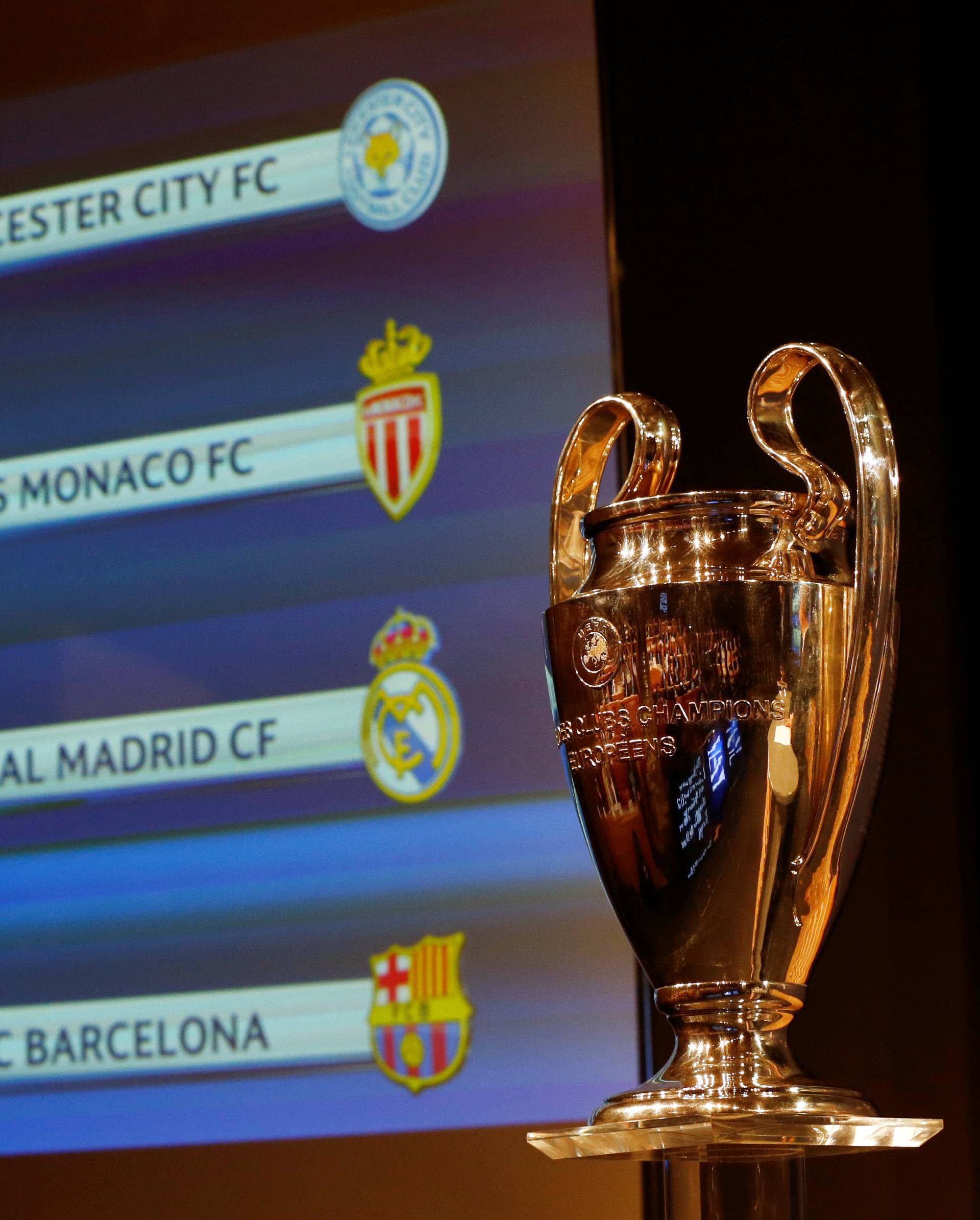 The UEFA Champions League trophy is pictured after the draw of the quarterfinals in Nyon