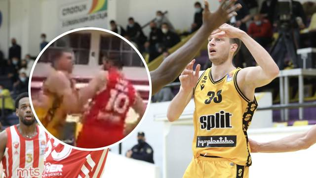 VIDEO Kako je kapetan Zvezde opalio Splitova igrača u glavu