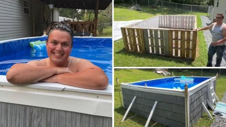 Napravio je bazen u dvorištu od drvenih paleta za samo 12 sati