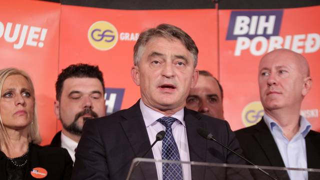 Zeljko Komsic of Democratic Front (DF) attends a news conference where he declared himself the winner of the Croat seat of the Tri-partite Bosnian Presidency in Sarajevo