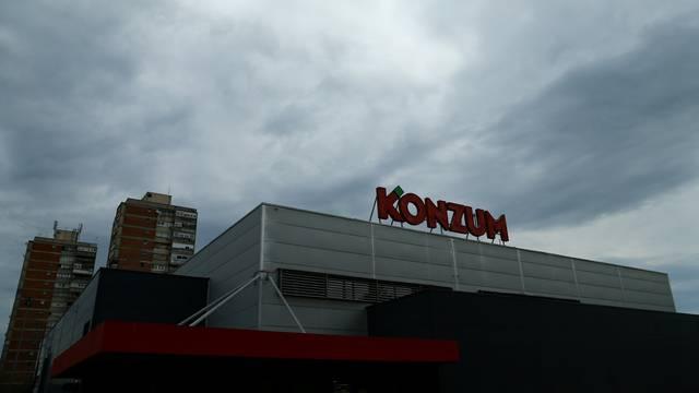 A Konzum logo is seen on the Konzum supermarket in Zagreb
