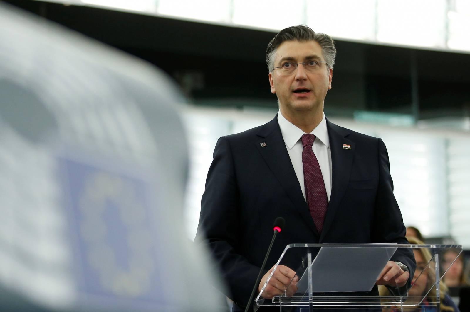 Croatia's Prime Minister Plenkovic addresses the European Parliament in Strasbourg