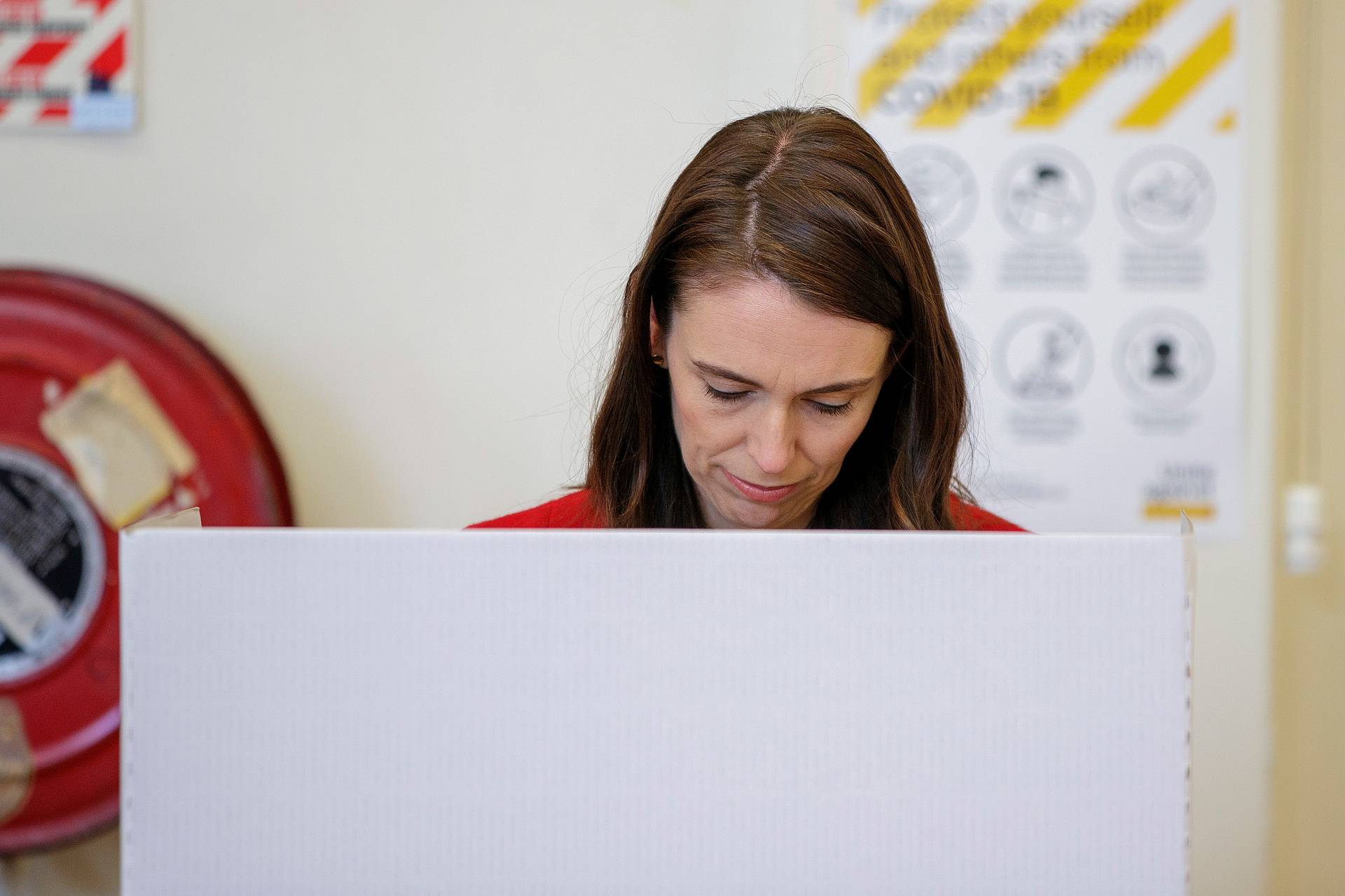 New Zealand Prime Minister Ardern casts her general election vote in Auckland