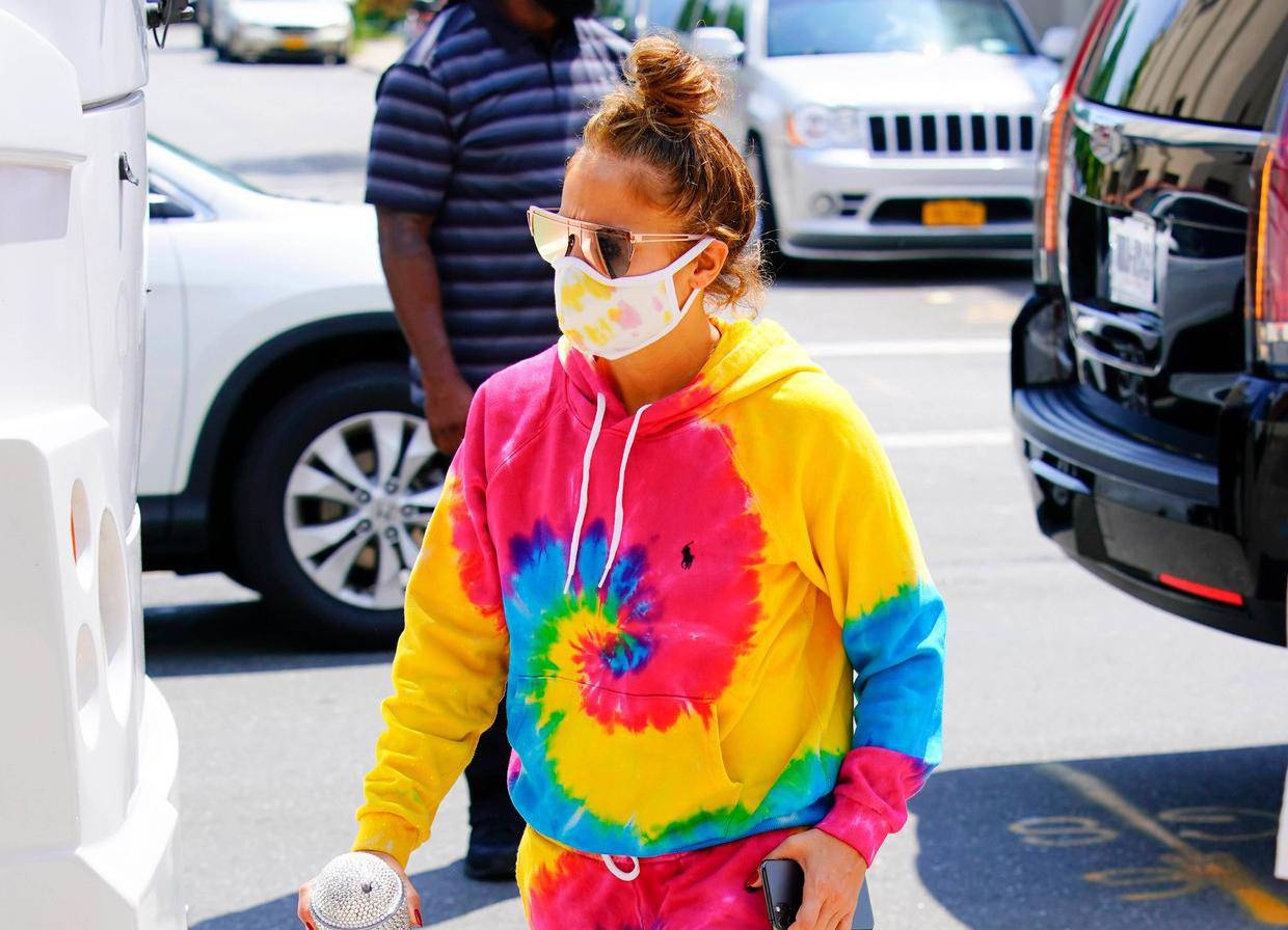 EXCLUSIVE: Jennifer Lopez is Pictured Wearing a Head to Toe Tie-Dye Outfit in New York City
