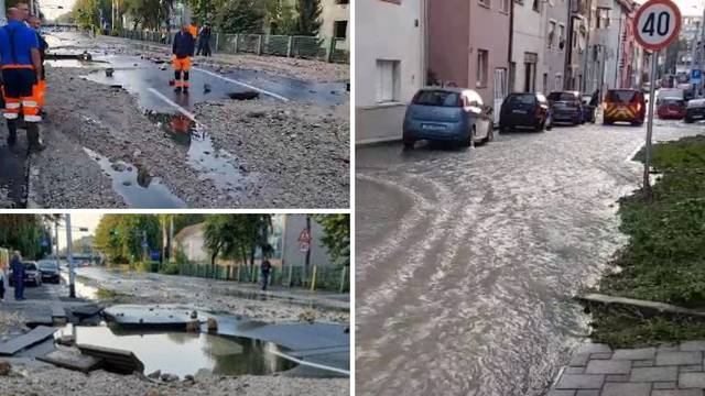 VIDEO U Zagrebu plivale ulice! Voda je tekla satima, na sredini ceste na Trešnjevci je rupetina