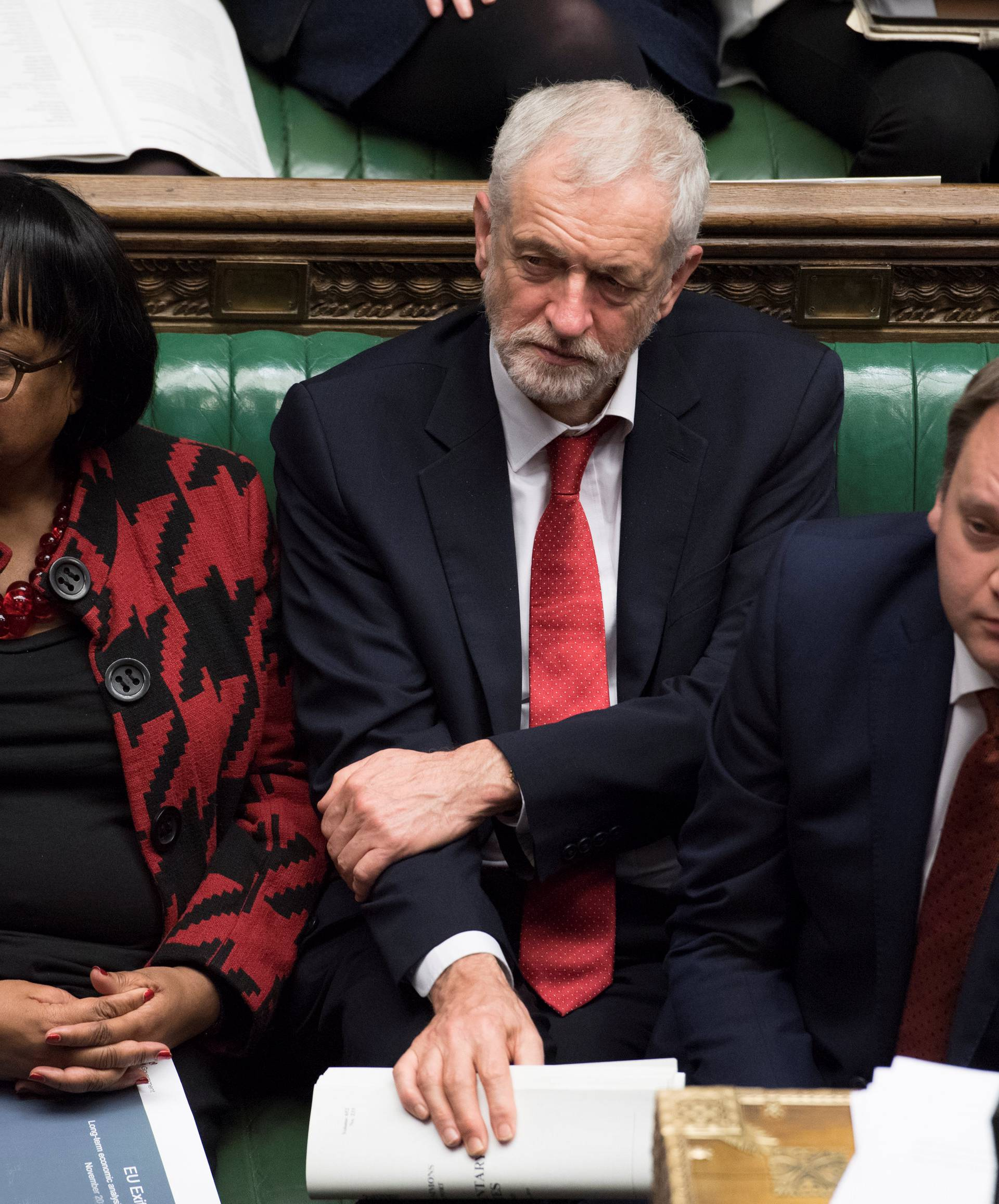Britain's opposition Labour party leader Jeremy Corbyn attends the debate in Parliament ahead of the vote on British Prime Minister Theresa May's Brexit deal, in London