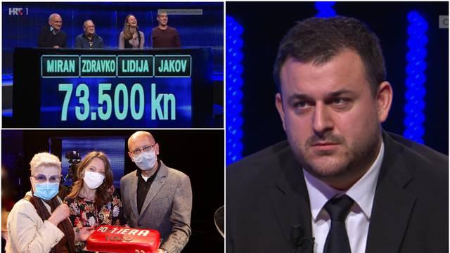 Kotiga priznao poraz, kandidati osvojili 73.500 kn: 'Bit će bolje. U 1000. emisiji može biti tako'
