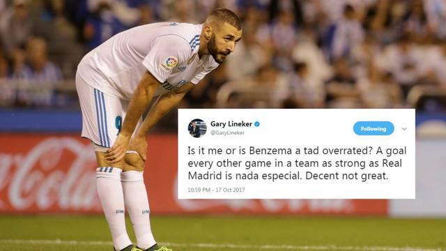 Lineker: Čini li se to meni, ili je Benzema precijenjen napadač?