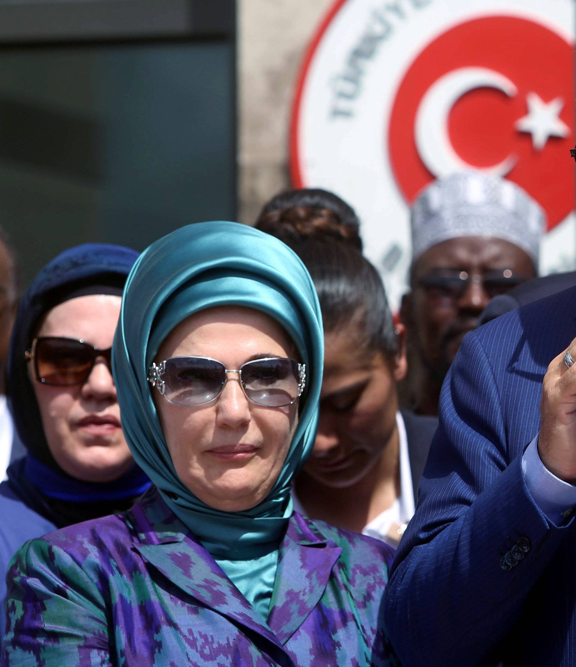 Turkish President Erdogan flanked by his wife Emine addresses guests during the opening ceremony of the new Turkish embassy in Abdiazizi district of Somalia's capital Mogadishu