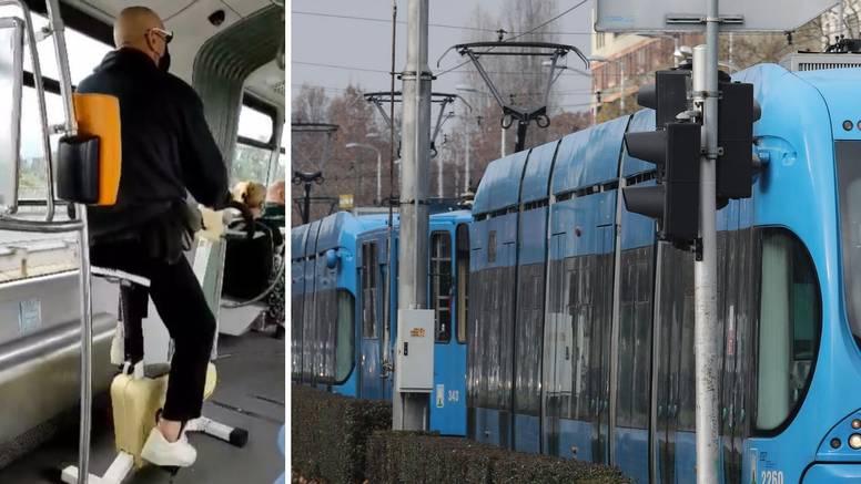 VIDEO Što je, ovo?! U tramvaj u Zagrebu unio je sobni bicikl: 'Pedalirao je tako tri stanice'