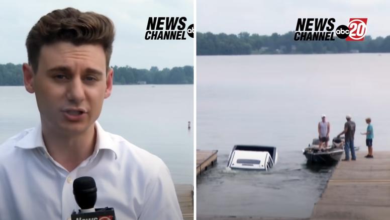 Novinar se javljao uživo: Svima pažnju odvukao automobil koji je potonuo u jezero iza njega