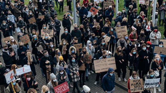 People protest against imposing further restrictions on abortion law in Gdansk