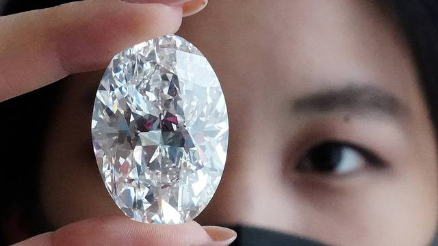 A perfect 100+ carat diamond that Sotheby's will be auctioning off in Hong Kong in October is pictured