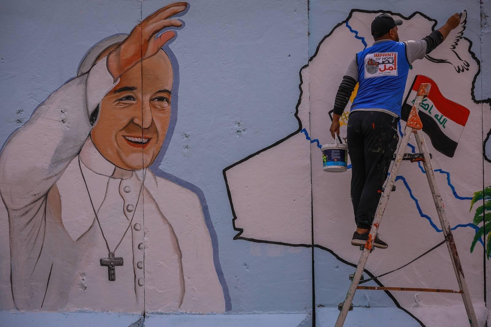 Pope Francis church mural in Baghdad
