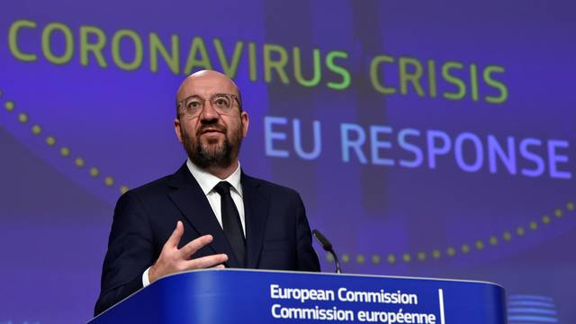 FILE PHOTO: The President of the European Council Charles Michel holds a news conference on the European Union response to the coronavirus disease (COVID-19) crisis at the EU headquarters in Brussels