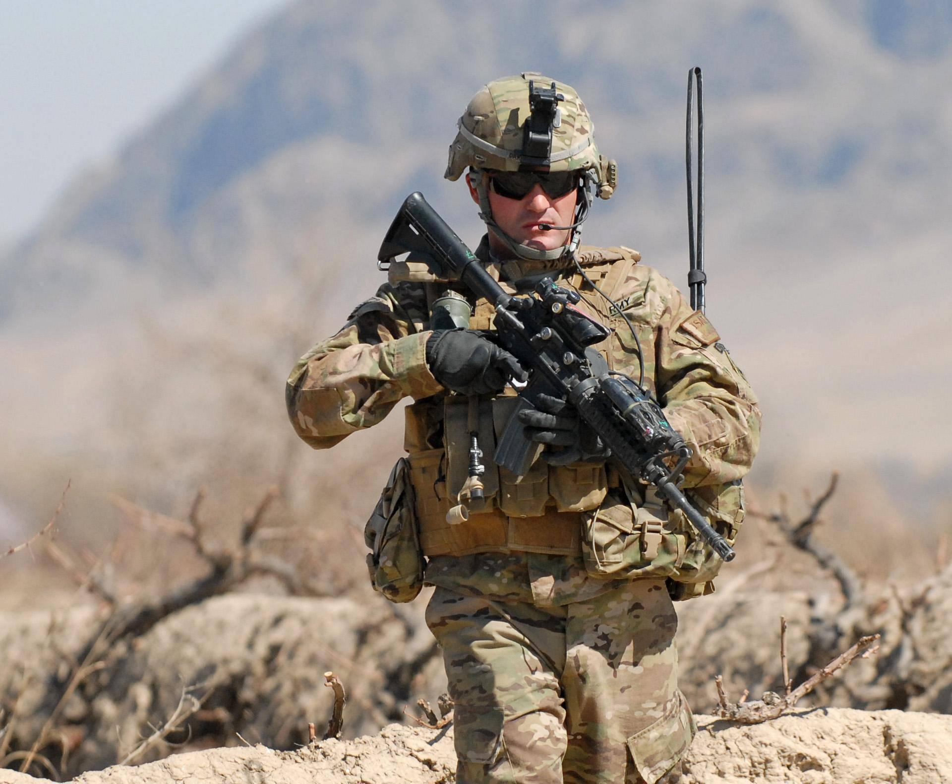 Soldier on Patrol in Tabin
