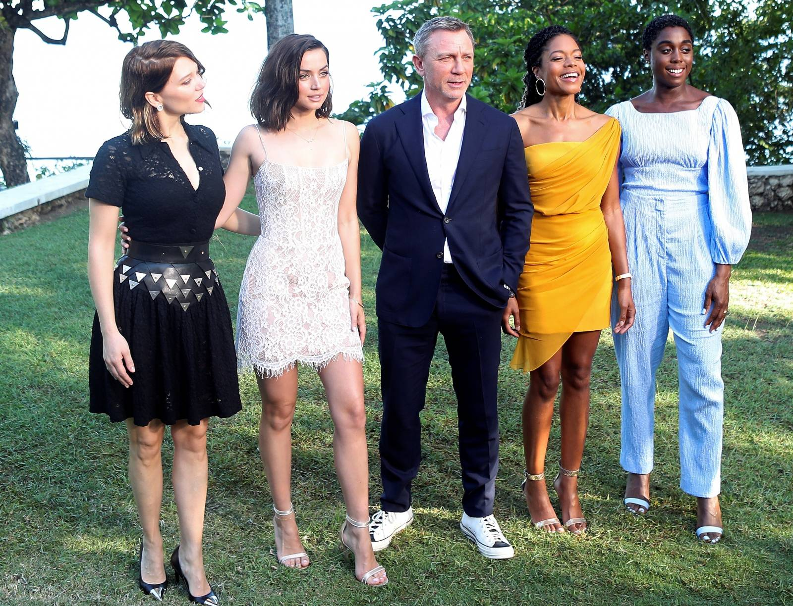 "FILE PHOTO: Actors Lea Seydoux, Ana de Armas, Daniel Craig, Naomie Harris and Lashana Lynch pose for a picture during a photocall for the British spy franchise's 25th film set for release next year, titled ""Bond 25"" in Oracabessa"