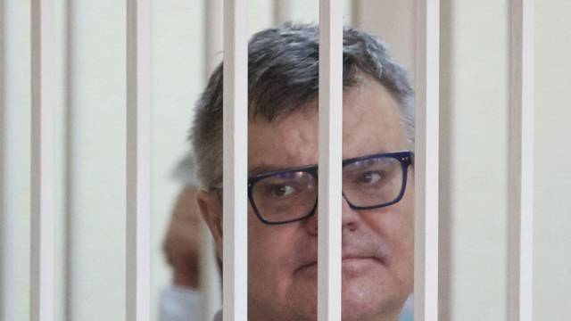 Former Belarusian presidential contender Viktor Babariko attends a court hearing in Minsk